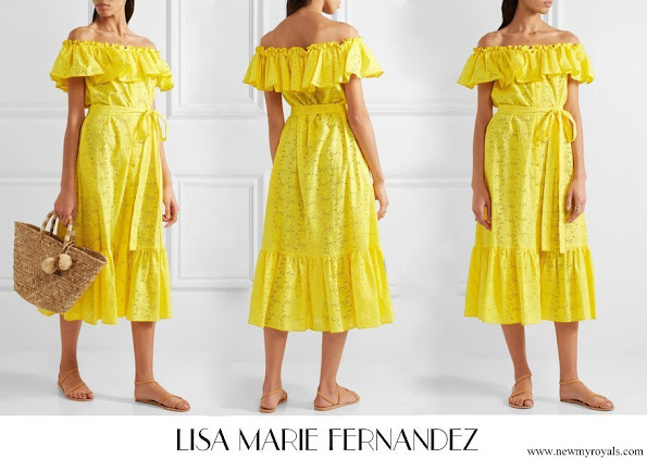 Princess Amalia wore Lisa Marie Fernandez Mira broderie anglaise cotton midi dress