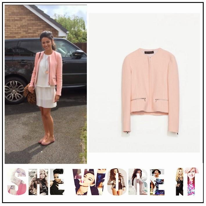 Bodice Dress, Boucle, Contrast, Jacket, Mango, Michelle Keegan, Pale Pink, White, Zara, Zip Detail,