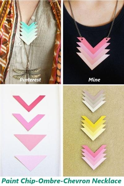 5. Kalung ombre chevron terbuat dari kartu warna cat.