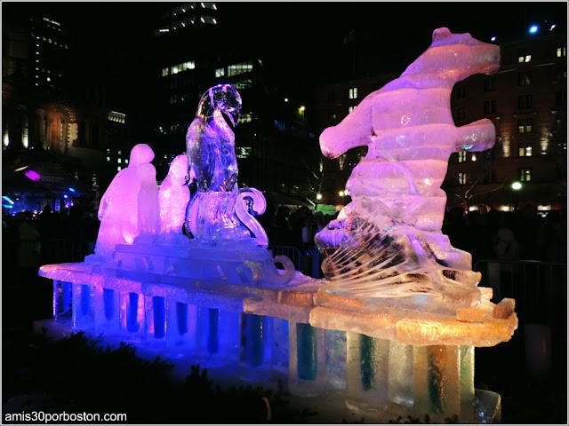 Esculturas de Hielo en Boston: Pingüinos y Oso