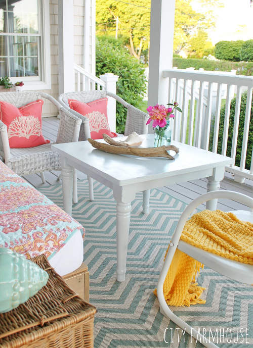 Pink White Summer Porch Decor Idea Coastal