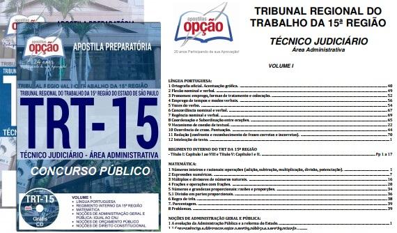Apostilas TRT da 15ª Região - Tribunal Regional do Trabalho Campinas