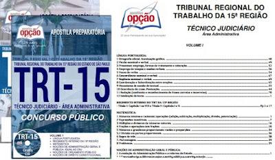 Apostila TRT Campinas SP 2017 - Técnico Judiciário – Área Administrativa.