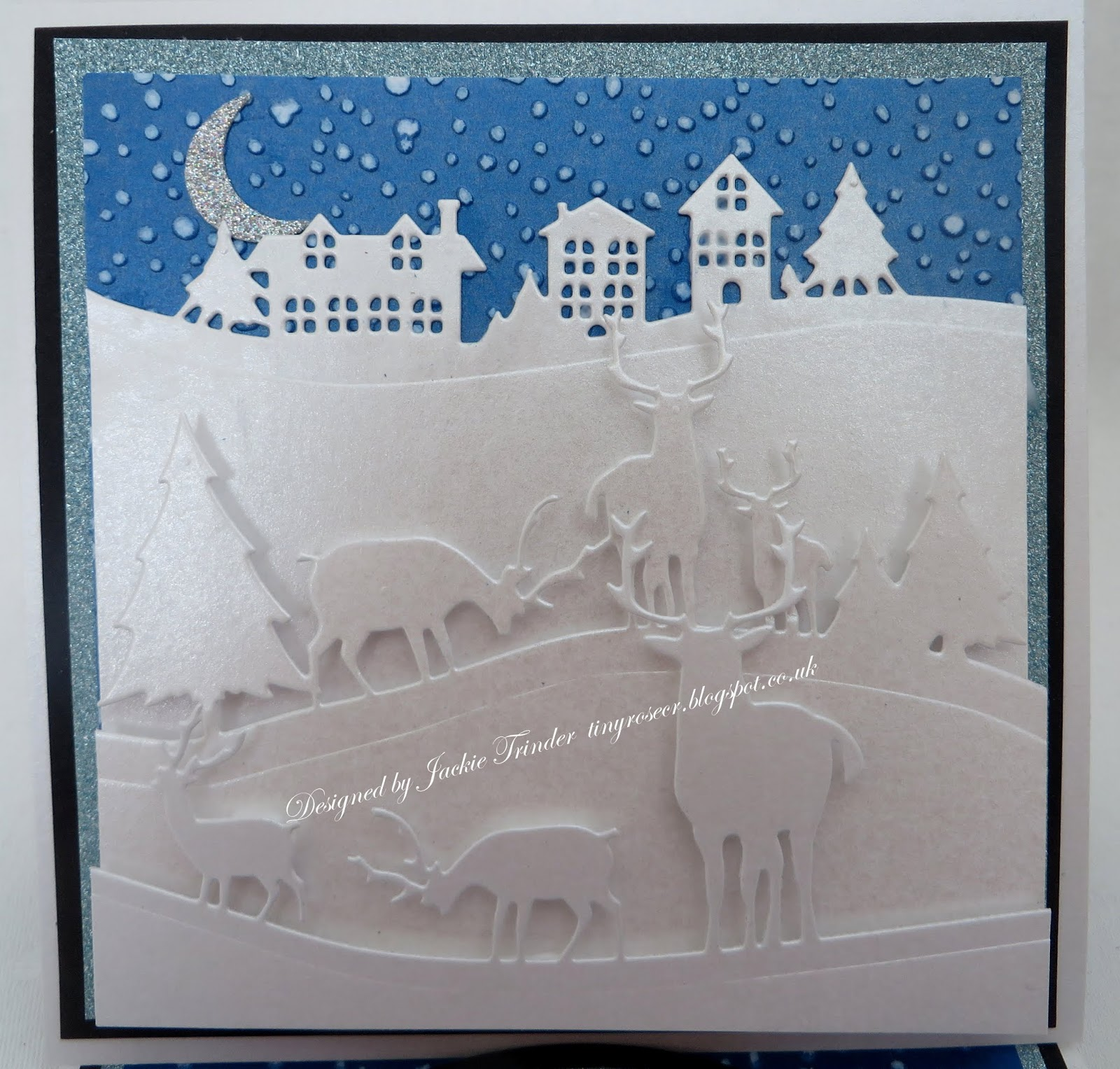 John Next Door Christmas Dies.Tinyrose S Craft Room Easel Winter Scene Christmas Card