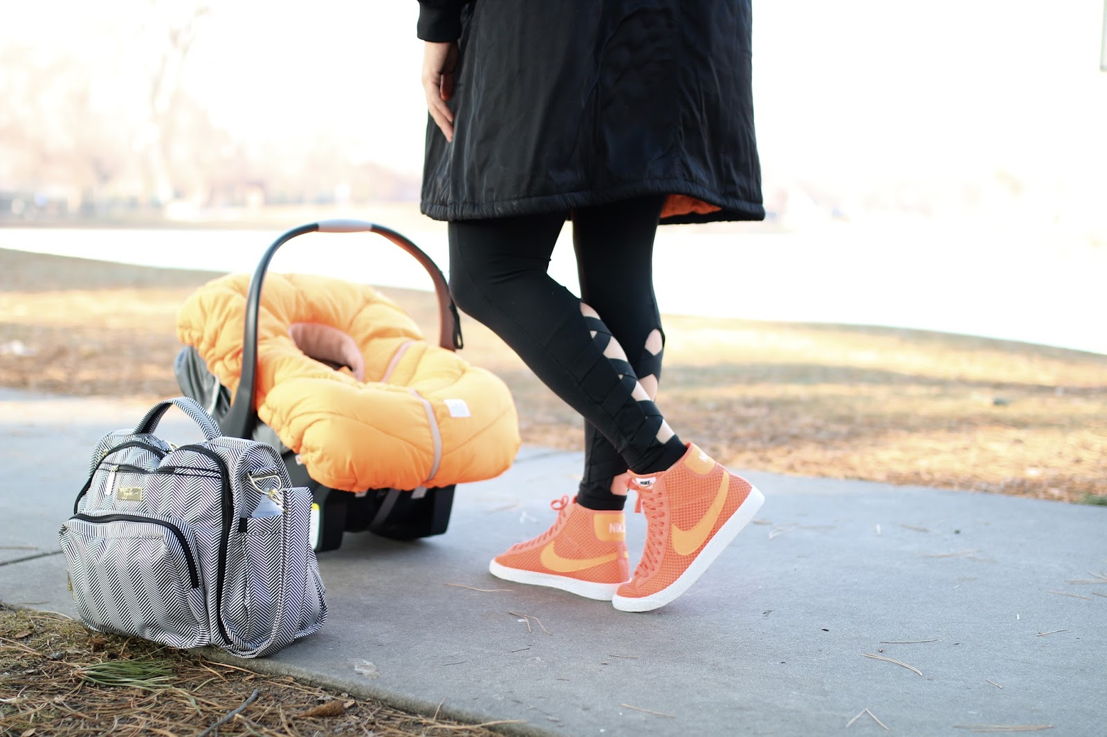 jujube legacy diaper bag, athleta cut out chaturanga tight, audrey and olive bomber jacket, nike blazer mesh orange