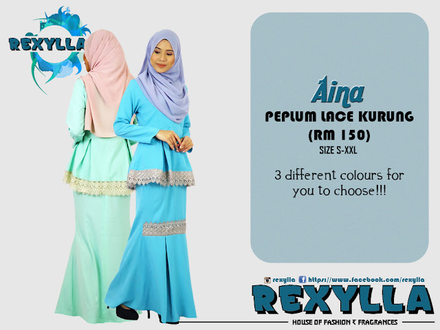 rexylla, peplum, peplum lace, peplum lace kurung, aina collection