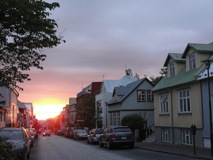 midnight sunset in iceland summer