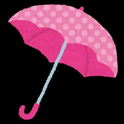 ピンクの水玉の傘のイラスト