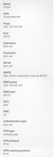 Virgin Mobile Australia Internet Settings for Android