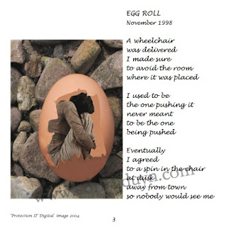 Page from Hatched by Corina Duyn with woman in an egg lying on gravel, and poem