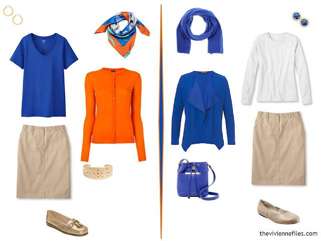 two outfits using a beige skirt and bright blue and orange tops
