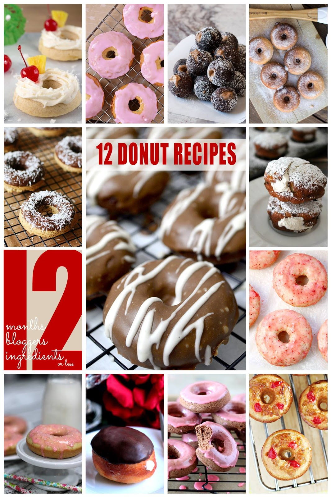 A collection of 12 delicious donuts you must make!