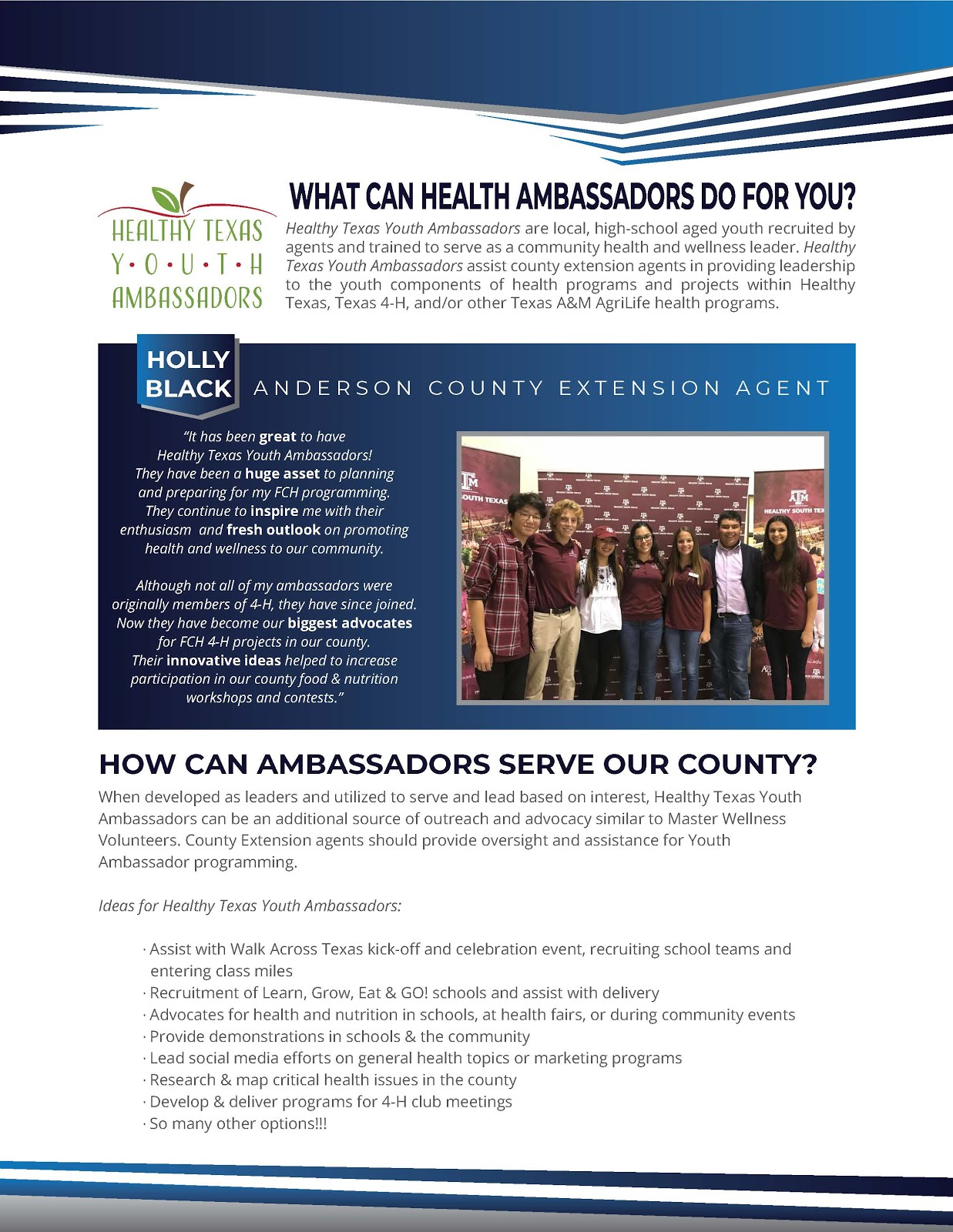 Texas 4-H Livestock Ambassador Program   Wharton County 4-H