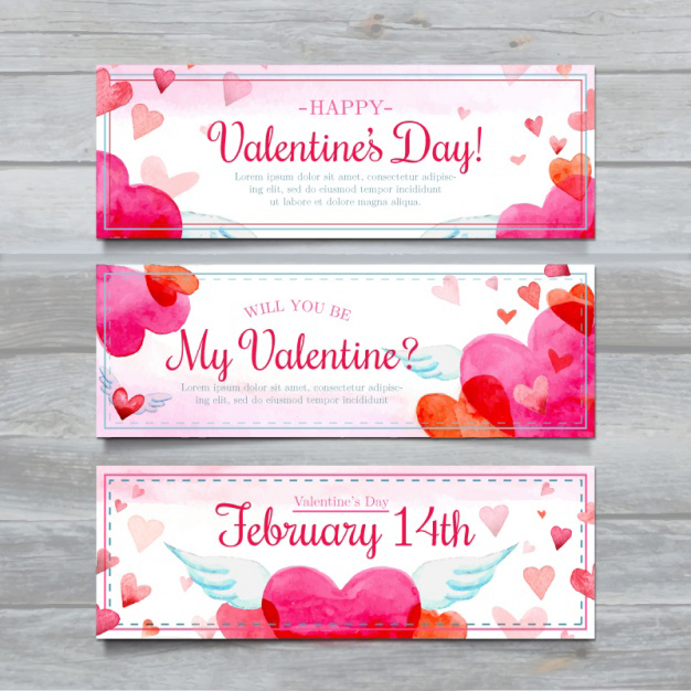 Set of three watercolor hearts banners Free Vector