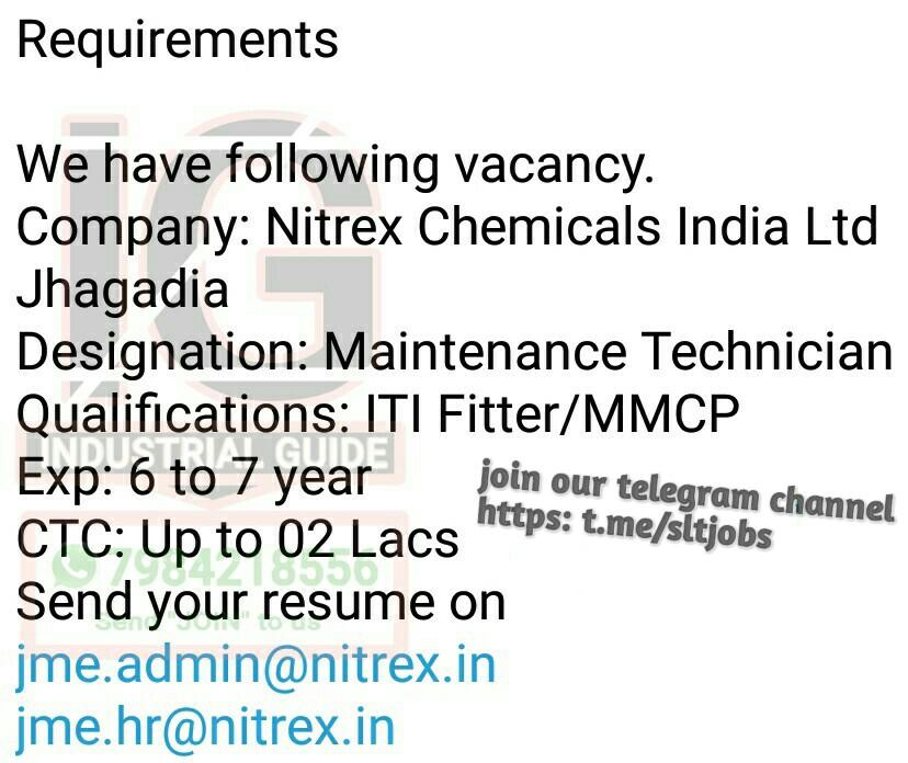 PRIVATE JOB GUJARAT: Nitrax chemical India Ltd Zhaghadia