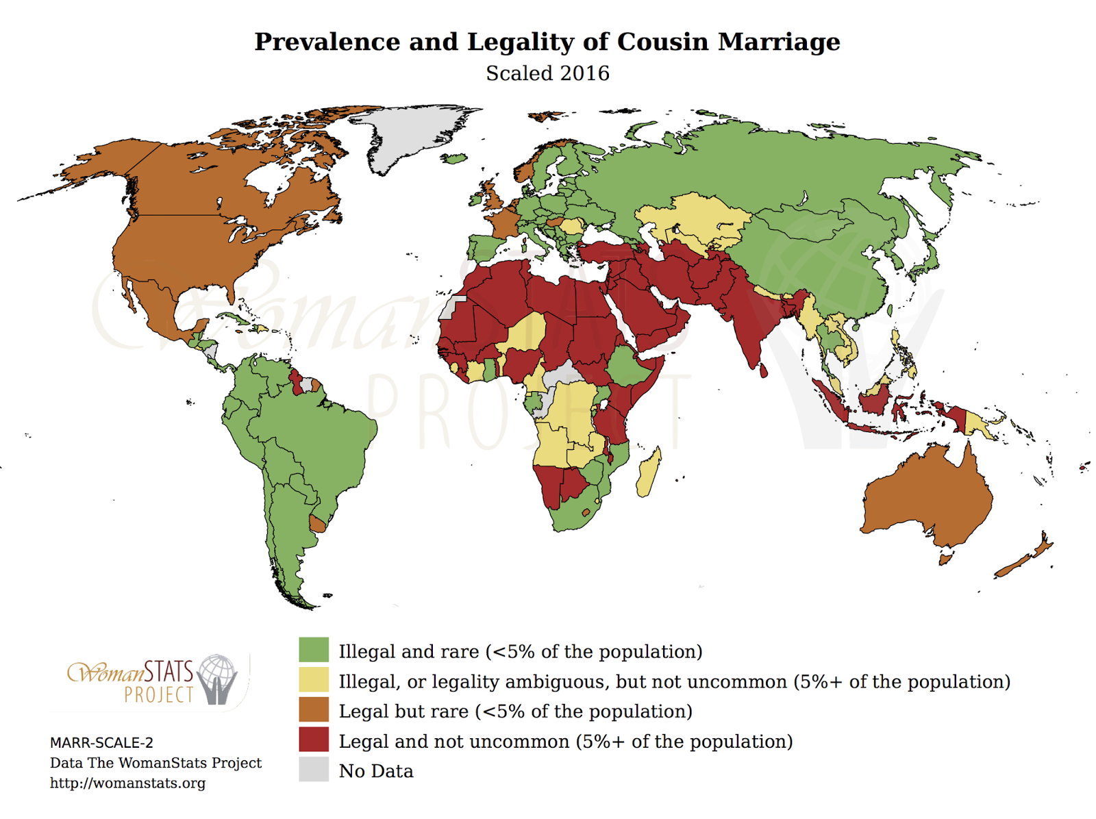 Prevalence & legality of cousin marriage (2016)
