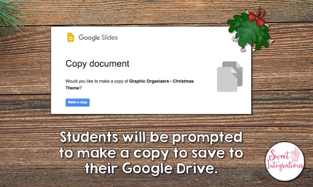 "an image showing the prompt students receive with the text ""Students will be prompted to make a copy to save to their Google Drive"""