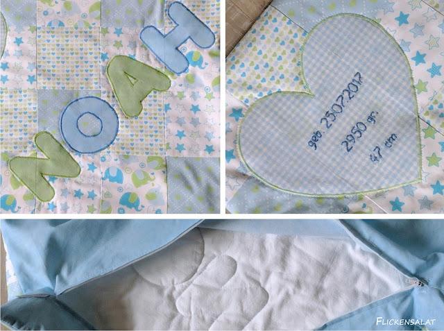flickensalat patchwork babykissen mit namen. Black Bedroom Furniture Sets. Home Design Ideas