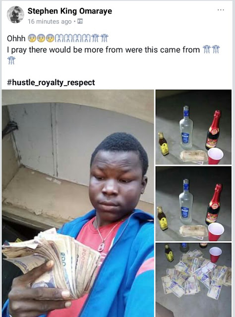 IMG 20180112 132600 297 - Photos: Lol... young Nigerian hustler shows off his money and drinks