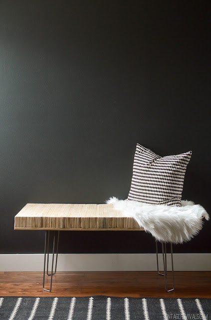 DIY stacked wood plywood bench