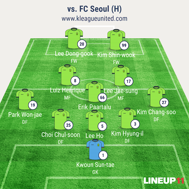 Jeonbuk Hyundai Motors vs FC Seoul lineup (K-League R1, March 12th, Jeonju World Cup Stadium)