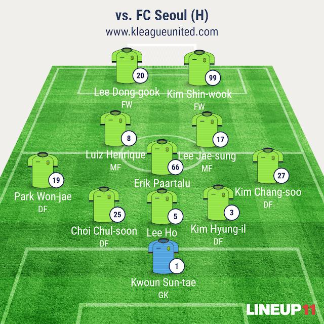 Jeonbuk Hyundai Motors vs FC Seoul lineup (K-League R1, March 12th, Jeonju World Cup Stadium)