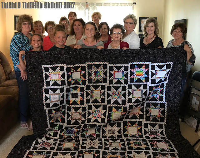 Sawtooth Stars & Signatures Friendship Quilt on Thistle Thicket Studio. www.thistlethicketstudio.com