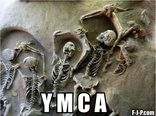 Funny skeleton YMCA pose picture