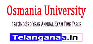 Osmania University Degree 1st 2nd 3rd Year Practical Exam Time Table 2017