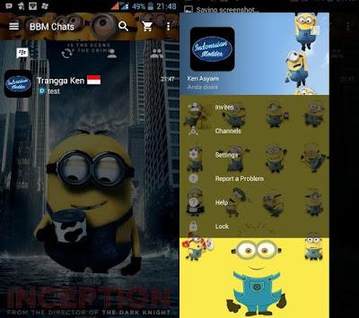 Download BBM Tema MOD Minions Versi Terbaru v3.2.0.6 APK Transparan Theme