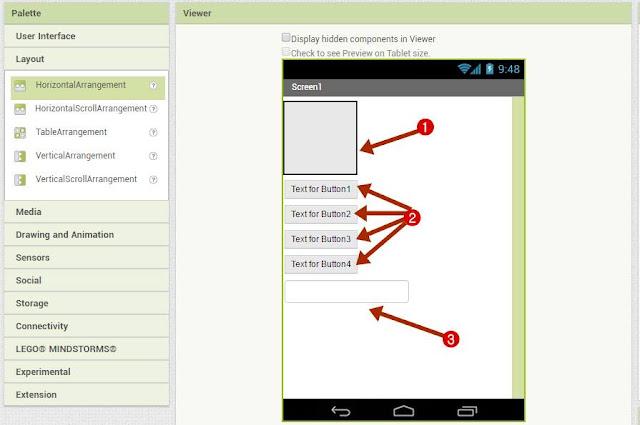 User Interface में से चार Button और एक text box को Drag करके screen पर Drop करें