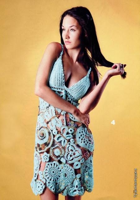Patron Crochet Vestido Mixto Apliques