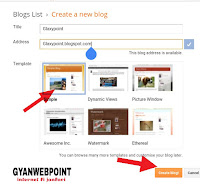 select tittle,adress and template after click blog button