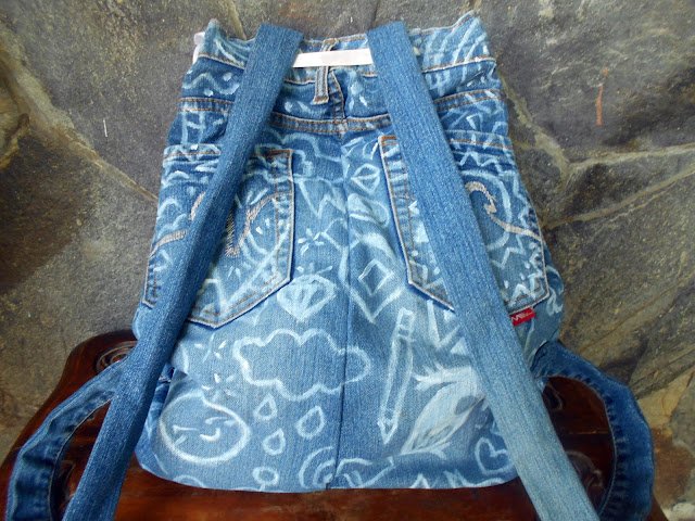DIY Doodled Denim Backpack - back side - decoration