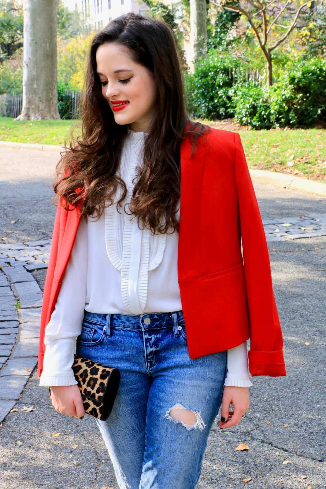 styling red blazer fashion blogger