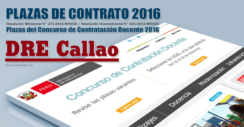 DRE Callao: Plazas Vacantes Contrato Docente 2016 (.PDF) www.drec.gob.pe