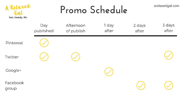 A Relaxed Gal Promotion Schedule | arelaxedgal.com