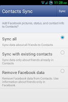 Enabling Facebook Contacts Sync