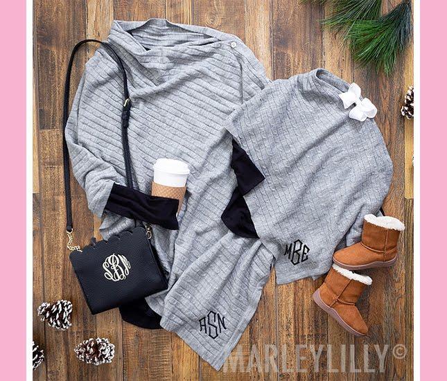 monogram gray ponchos