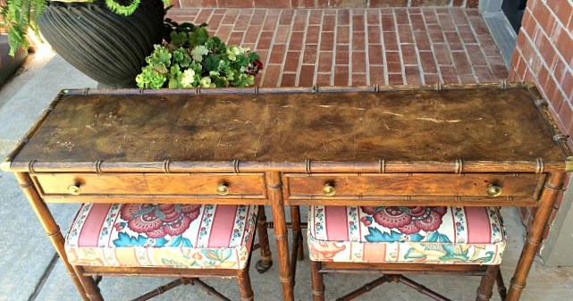 Foyer Table Craigslist : Hekman bamboo hall table with stools craigslist score