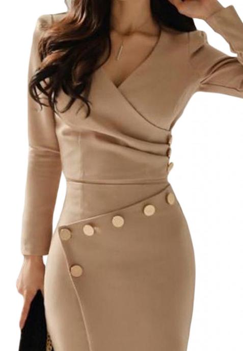 Rochie midi asimetrica accesorizata cu butoni  khaki