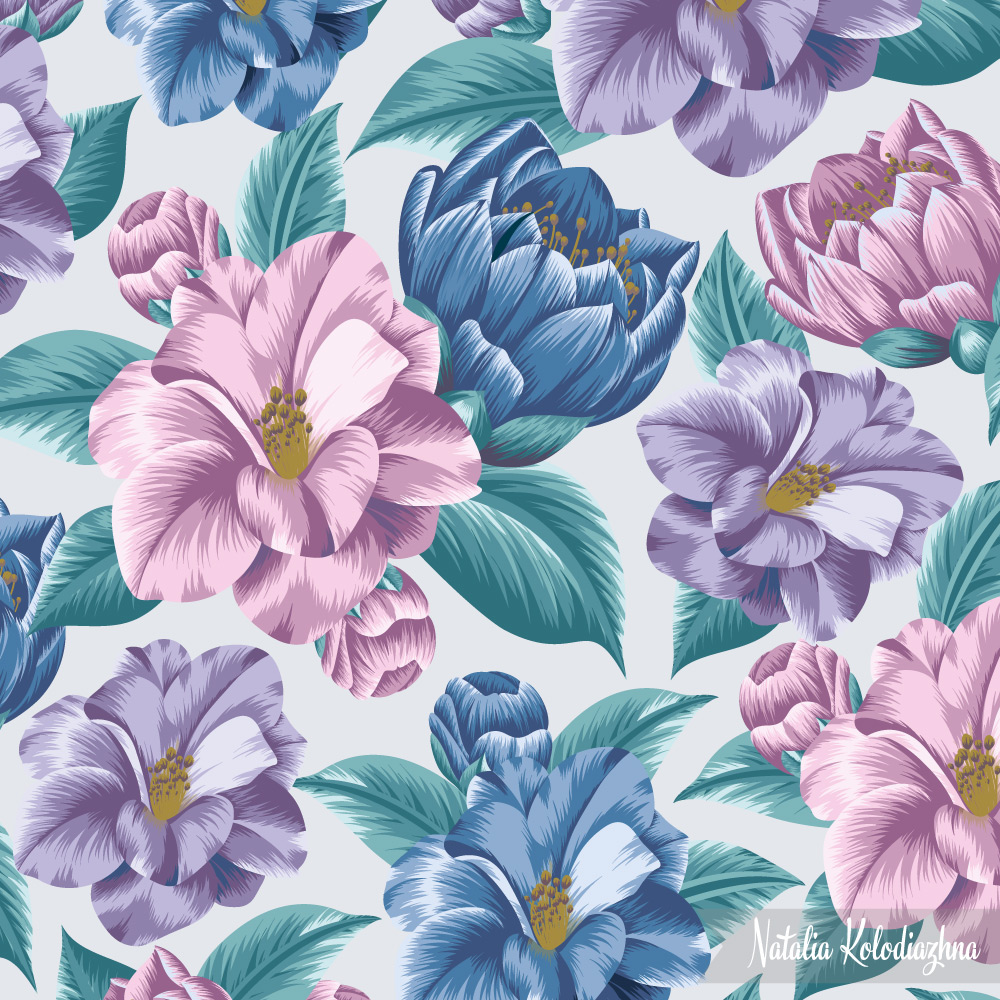Floral pattern with camellia flower by Natalia Kolodiazhna