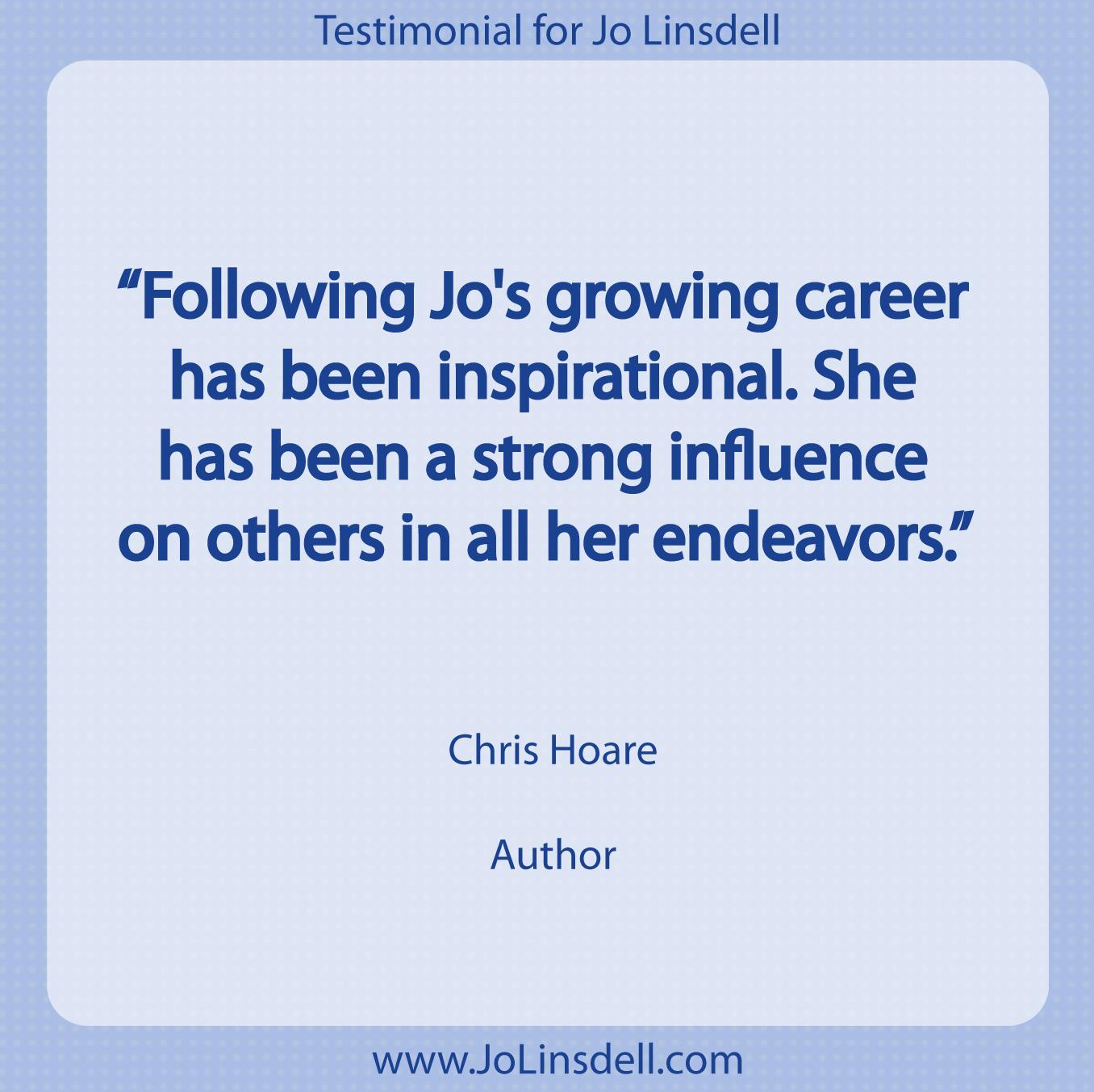 Testimonial for Jo Linsdell by Chris Hoare