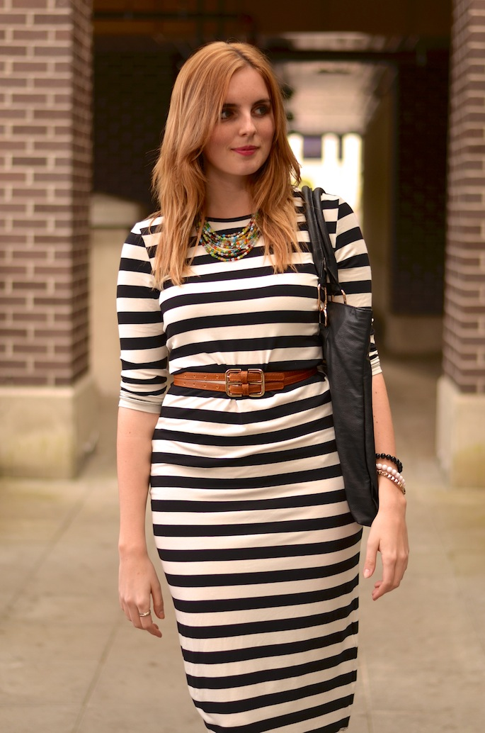 Striped H&M Jersey Midi Dress
