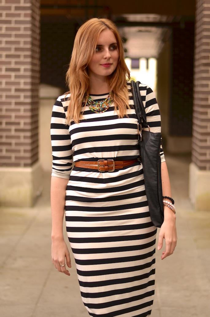 Striped H&M Jersey Midi Dress