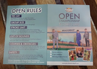 The Open Championship scorecard at Paradise Island Adventure Golf