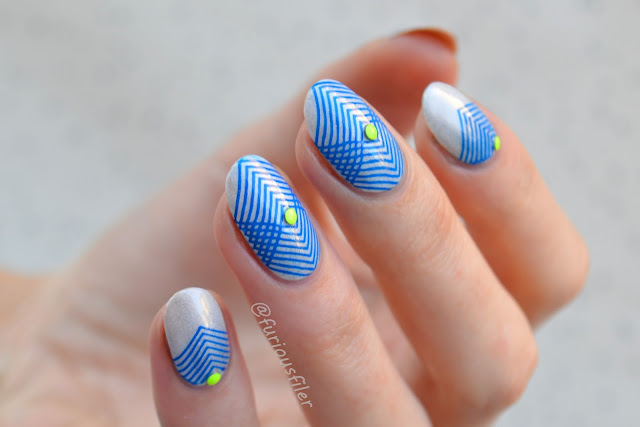 holographic geometric stamping shapes triangles nails studs neon