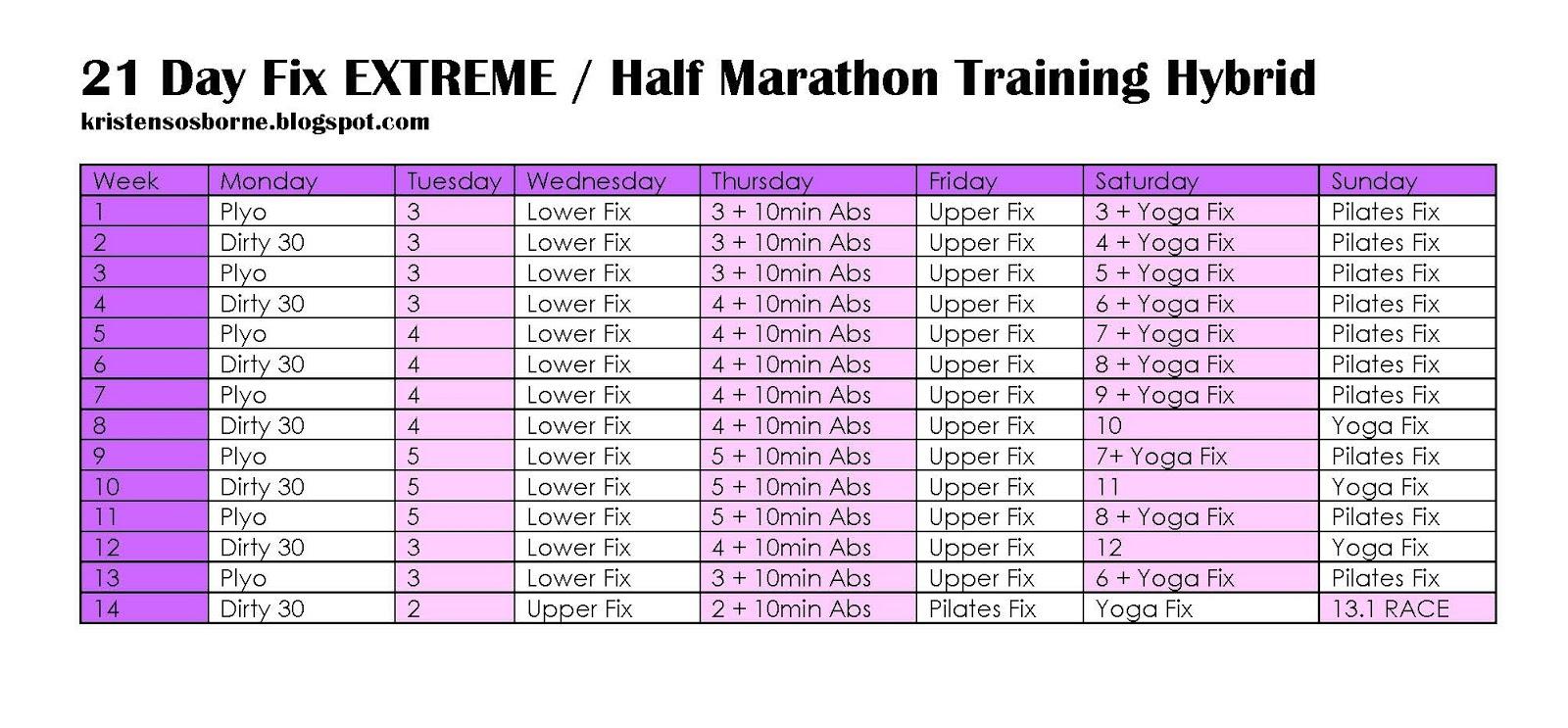 Calendario De 21 Day Fix Extreme.Yoga Fix Schedule Examples And Forms