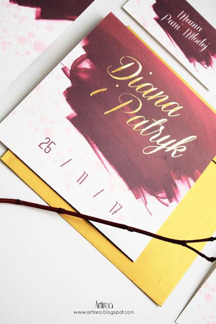 jesienne zaproszenia slubne bordowo zlote pozlacane zaproszenia i dodatki slubne nowoczesne eleganckie artirea