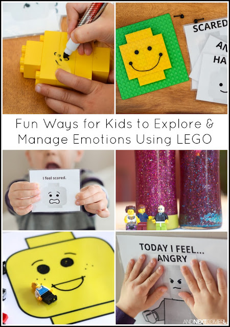 Fun ways for kids to explore and manage emotions using LEGO from And Next Comes L